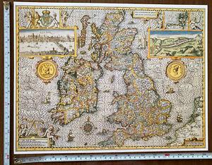 Speed 1600s Reprint Old Antique Tudor map British Isles Great Britain /& Ireland