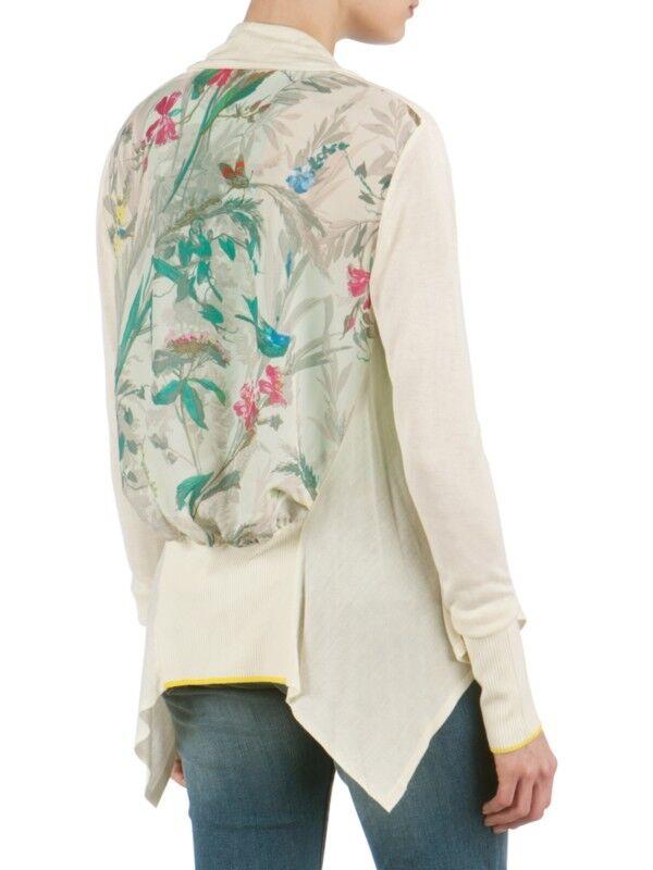 TED BAKER Parisian bird floral print waterfall drape cardigan sweater oben 0 6