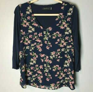 Cortefiel Women's Top Size Small V-Neck 3/4 Sleeves Floral Navy Blue Pink Green