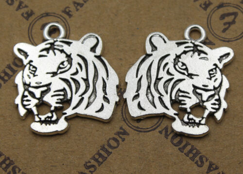 15//30pcs Retro style tiger head Charm Pendant DIY Jewellery crafts 25x22mm