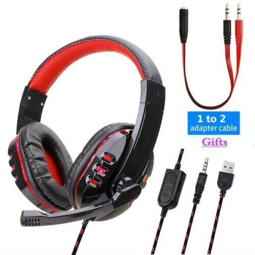 3.5mm K17 Gaming Headset MIC LED Headphones for PC Laptop PS
