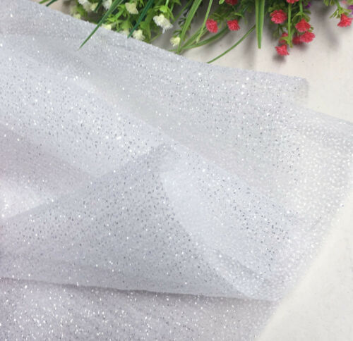 White Lace Fabric with Sequins Embroidery Tulle wedding dress fabric skirt