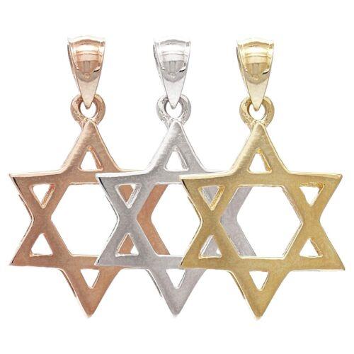 14k Yellow White or Rose Gold Jewish Star of David Charm Pendant