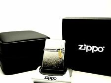 Zippo Lighter Limited Edition BLACK EDITION GOLD ZIPPER & Special LEATHER case