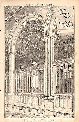 1884 Antique Architectural Print Art Derby Chapel Screen In Manchester Cathedral Strengthening Waist And Sinews Art Prints
