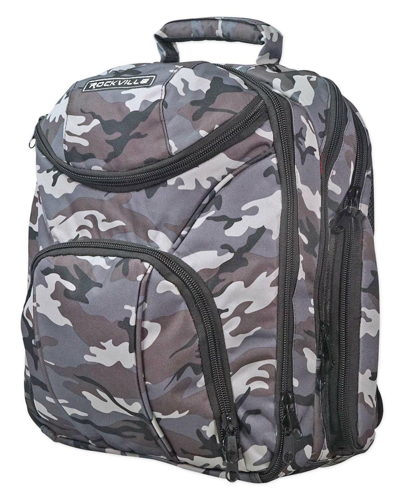 Rockville Travel Case Camo Backpack Bag For Mackie PROFX16V2 Mixer