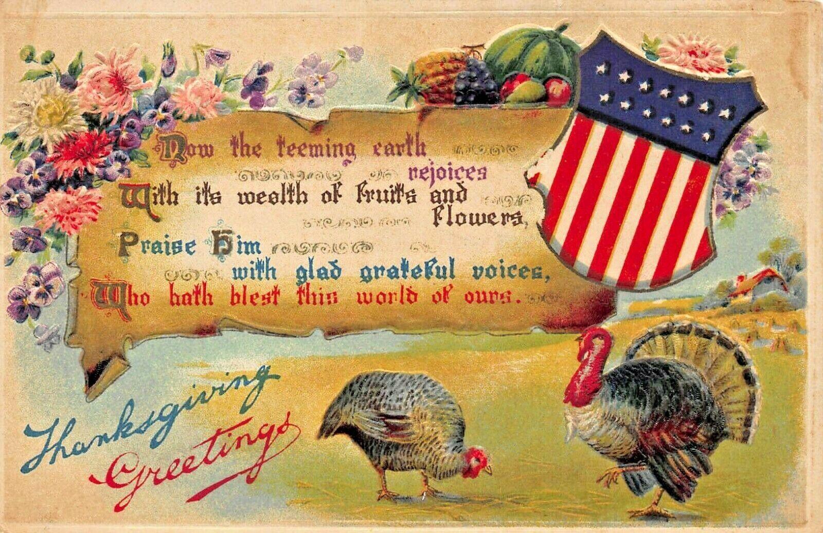 PATRIOTIC THANKSGIVING~TURKEYS-SHIELD FLAG EMBOSSED 1909 POSTCARD