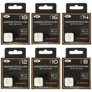 10-X-NGT-Sans-Ardillon-Crochets-Pour-Nylon-Tailles-8-10-12-14-16-18-NGT-Peche-a-La-Carpe