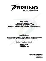Installation Manual & Operation Manual - Cd- Bruno Vpl-3200 Vertical Platform