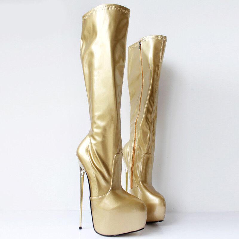REGNO Unito Crazy da donna 22cm al Danza Coscia Alta Stivali al 22cm Ginocchio Tacco Alto Scarpe Stivali Nightclub e3fb7d