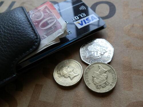 HUGO BOSS DA UOMO GRIGIO PELLE BLACK LABEL monete note di credito ID Card Custodia Portafoglio