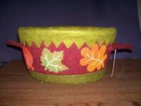Autumn Cloth Covered Basket Decorative Leaf Design