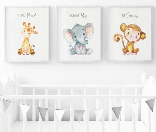 Safari Nursery Wall Art Nursery Decor Set Of 3 Safari Animals Nursery Prints