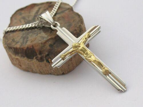 Echt Silber 925 Kreuz Jesus Anhänger 50 cm Kette Herrenschmuck Gold Christus