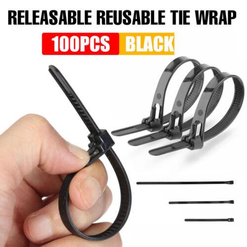 100Pcs Nylon Cable Ties Slipknot Tie Reusable Plastic Tie Releasable Wrap Strap.