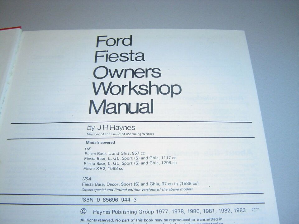 HAYNES REPARATIONS HÅNDBOG, Ford Fiesta, 1976 - 1983