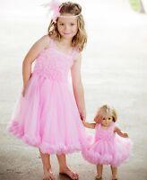 Rufflebutts Pink Petti Dress Chiffon Solid Baby Girls 12m - 24m Wedding Party