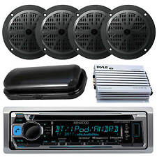 Silver Kenwood Marine Boat Yacht Stereo Receiver 4 Speakers And 400W Amp & Cover