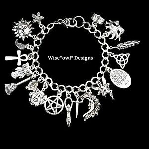 dc8422417b709d WICCAN GODDESS MAGICAL LUCK BRACELET WITH 18 CHARMS. GIFT BOXED OR ...
