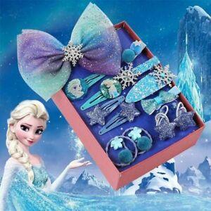 Cadeau de Noël Frozen 2 Elsa Princesse Bow mousseux Star filles enfants Clips Cheveux UK