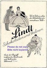 Schokolade Lindt Reklame 1929 Reifrock Biedermayer Werbung Pralinen
