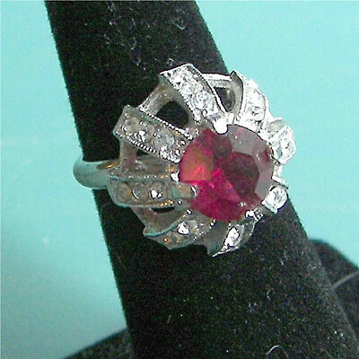 """ENCHANTMENT"" Red Stone Ring -  Sarah Coventry Jewelry -  Sara Cov - Vtg"