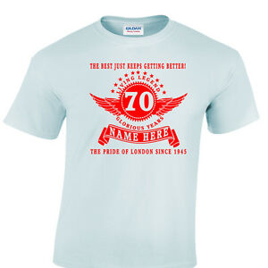 Image Is Loading Personalised 70th Birthday T Shirt Gift Choose Name