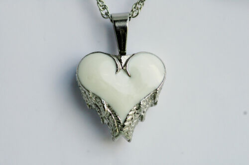 Cremation Wings Heart Black Inlay or White Inlay Urn Jewelry w//chain