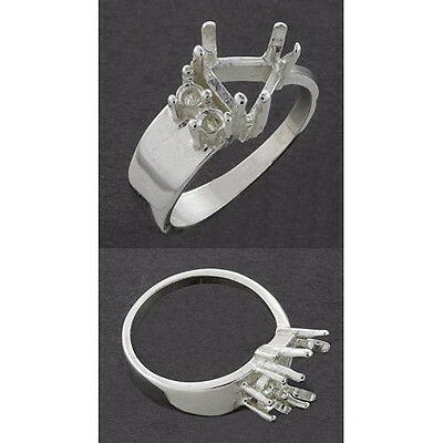 (9mm - 10mm) Trillion Accent Sterling .925 Ring Setting (Ring Sizes 7,8 )