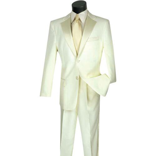 LUCCI Men/'s Ivory Classic Fit Formal Tuxedo Suit w// Sateen Lapel /& Trim NEW