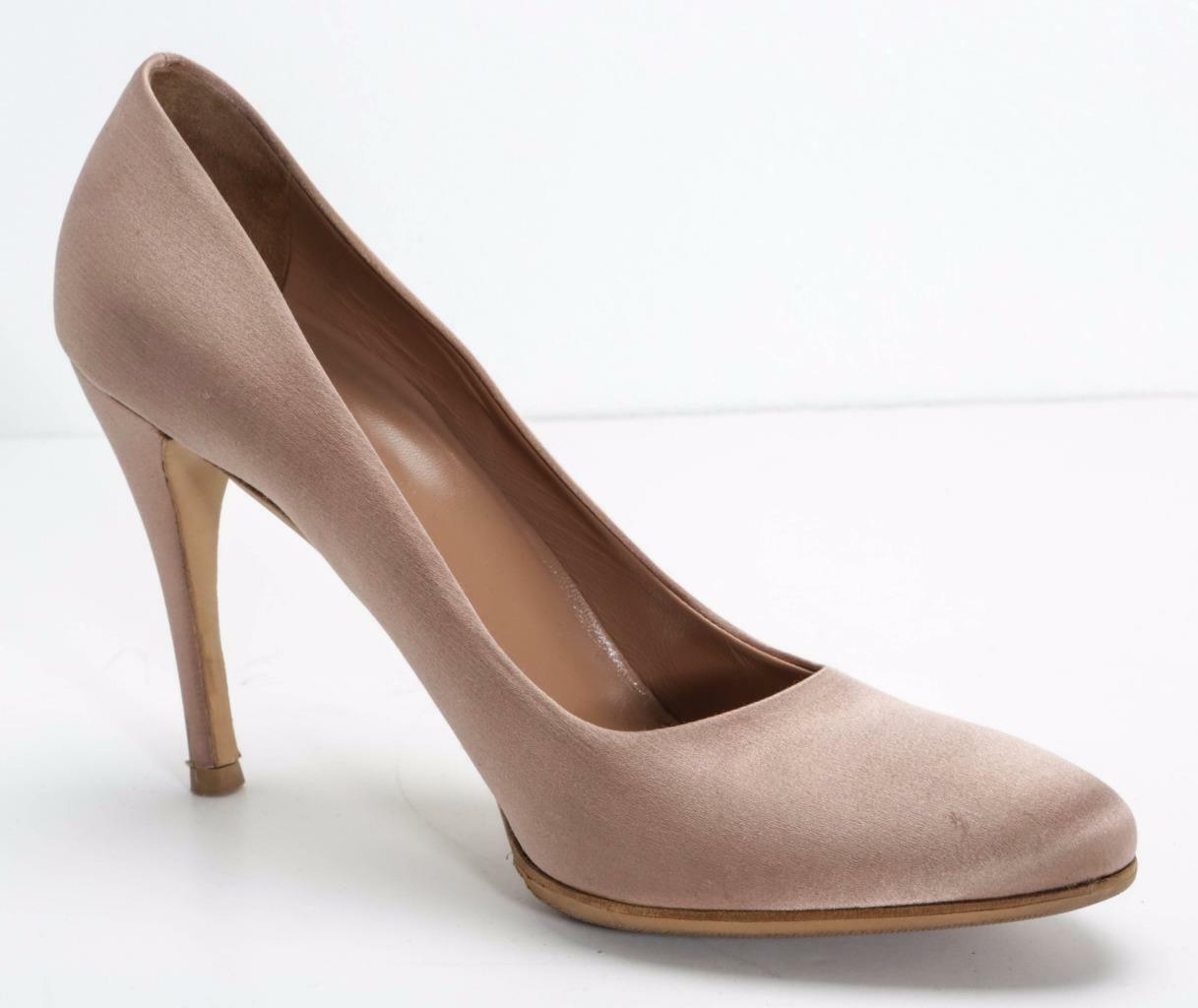 PRADA damen Antique Rosa Beige Satin Round-Toe Classic Pump High-Heel 10.5-40.5