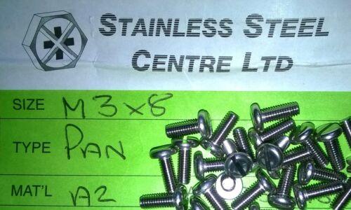 M3 x 8mm A2 fessurata Pan Testa Viti in acciaio inox