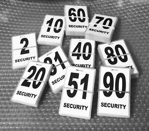 Security-guard-crowd-controller-number-tag-ID-White-Various-Numbers