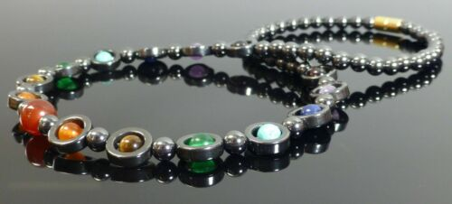 Chakra Hematite Necklace Circle Gemstone