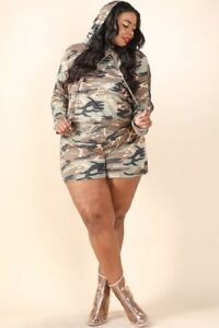 09faa8c04dc Image is loading Army-camouflage-plus-size-short-set