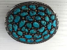 Sterling/Turquoise Belt Buckle -  signed crooked arrow Sterling