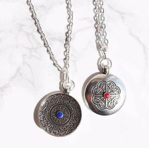Tibetan-Silver-Coin-Stone-Carved-Amulet-Plated-Necklace-Boho-Gypsy-Jewellery