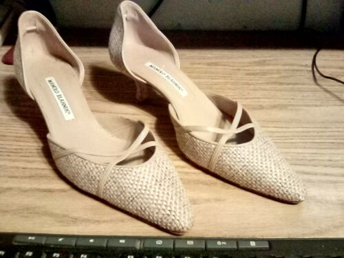 Manolo Blahnik Beige Leather/Fabric Shoes - Size 3