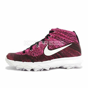 Nike WMNS Flyknit Chukka [819006-600] Women Golf Shoes Burgundy/Pink-White