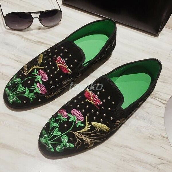 Uomo Slip On Loafers Driving Floral Embroidery Flats Casual Scarpe Casual Flats Suede Party sz 635528