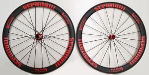 STRADALLI-CARBON-FIBER-AERO-CLINCHER-ROAD-BICYCLE-BIKE-WHEELSET-50mm-MATTE-RED
