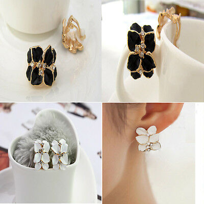Women's New Gardenia Flower Crystal Ear Studs Rhinestone Earrings Hoop Buckle