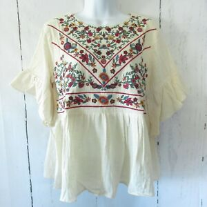 New-Umgee-Top-S-Small-Ivory-Floral-Embroidered-Ruffle-Sleeve-Boho-Peasant