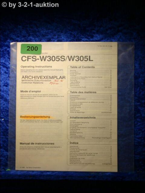 Sony Manual Cfs W305s  L Cassette Corder   0200