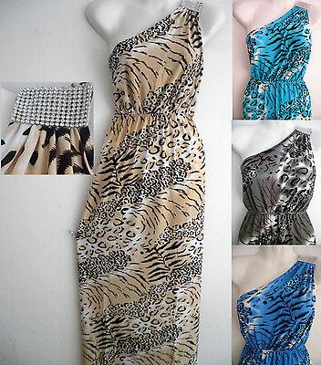 S/M/L/XL Women Beach Maxi Long Leopard Tiger Print Sundress evening party dress