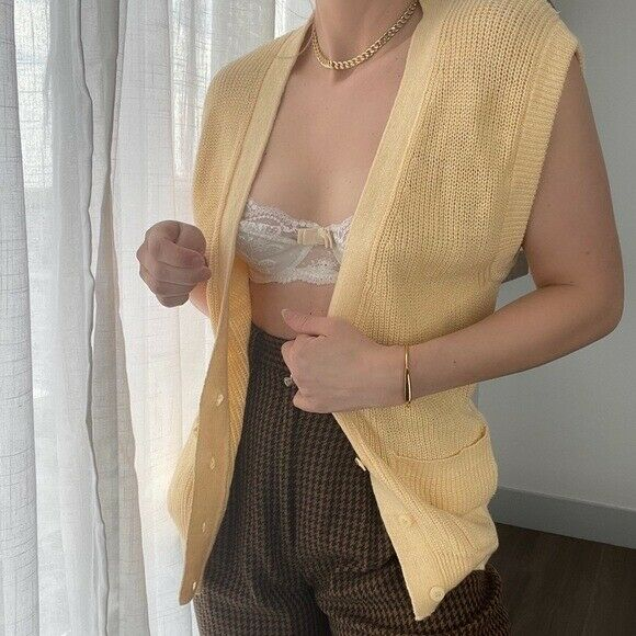Vintage Butter Yellow Chunky Knit Sweater Vest - image 5