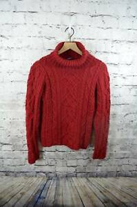 Paul-James-100-Wool-Chunky-Cableknit-Turtleneck-Womens-Sweater-England-S