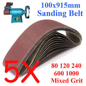 5PCS-100x915mm-914-Sanding-Belt-80-120-240-600-1000-Mixed-Grit-For-Wood-Grinding