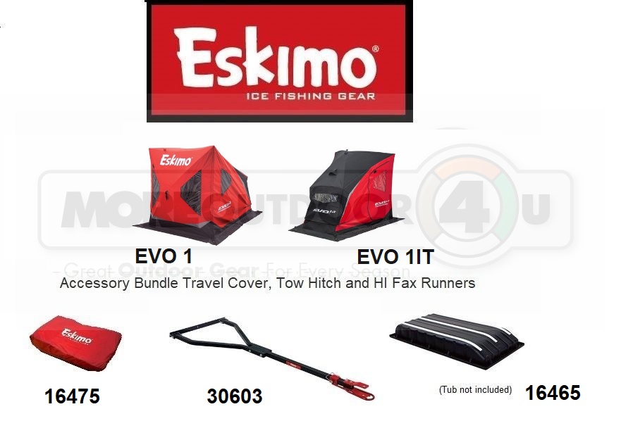 234194 Eskimo EVO 1 IT Exclusive Accessory Bundle Tow Hitch Travel Cover Runners