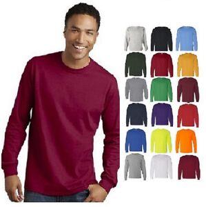 cd50e6f8 Gildan Heavy Cotton Long Sleeve T Shirt Mens Blank Casual Plain Tee ...